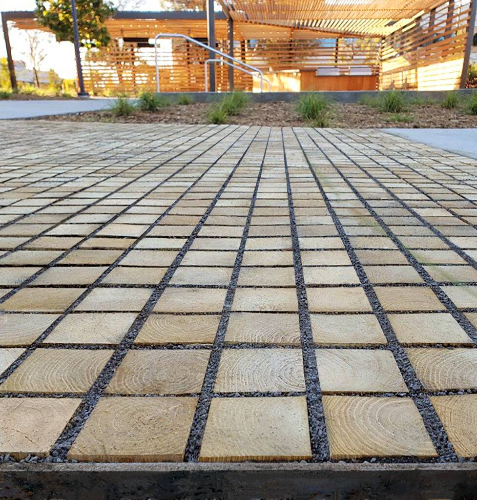 Black Locust hardwood Proflow Permeable Pavers™ provide a softer and cooler surface on the feet compared to concrete. Google, Assembly at North First, San José, CA